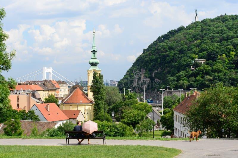 Budapest landskap från slottträdgården royaltyfri fotografi