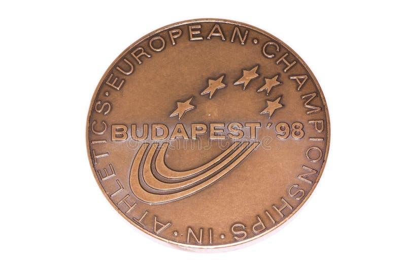 Budapest-1998 Leichtathletik-Europameisterschafts-Teilnahmemedaille, Gegenstücck Kouvola, Finnland 06 09 2016 stockbild