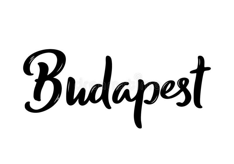 Budapest Lettering. Handwritten name of the Hungary capital. Vector design template stock illustration