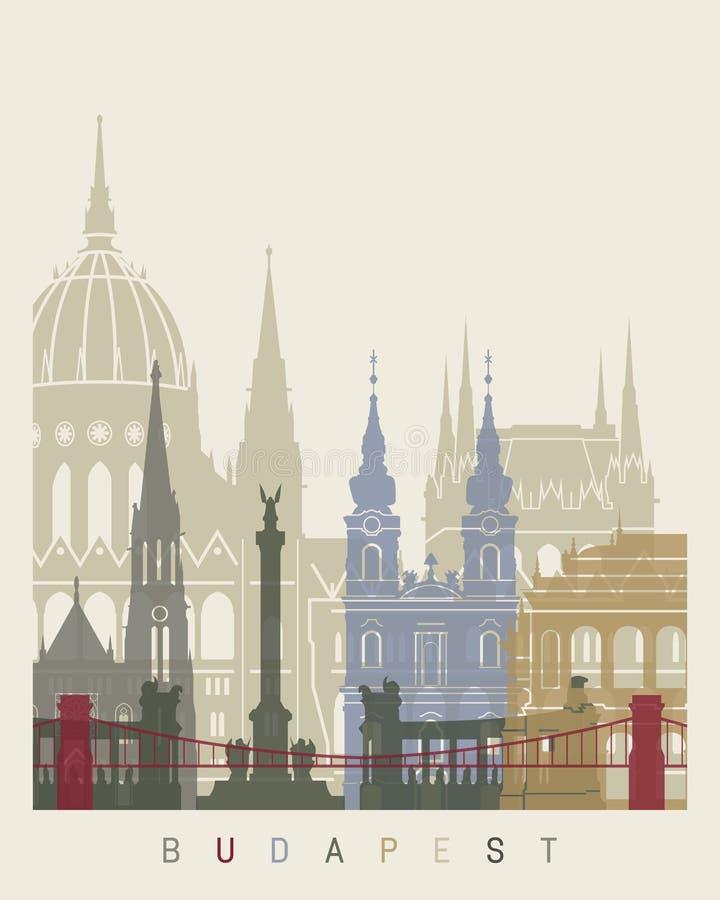 Budapest linii horyzontu plakat ilustracja wektor