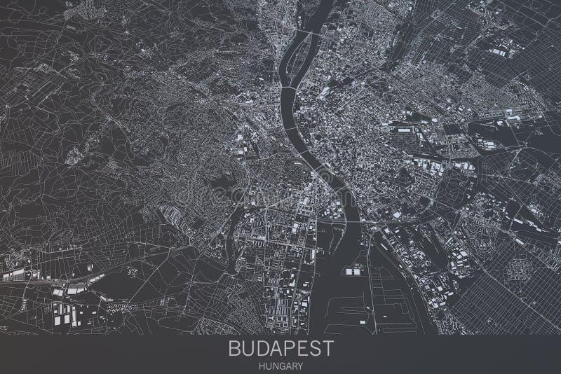Budapest mapa, satelitarny widok, miasto, Węgry ilustracji