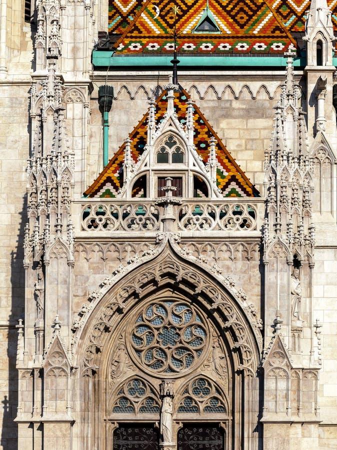 Budapest, Matthias Church, dettaglio di un'entrata fotografia stock libera da diritti