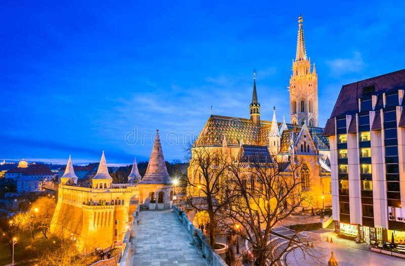 Budapest, Matyas church on Buda Hill, Hungary. Budapest, Hungary. Matyas Church and Fisherman Bastion on Buda Hill at twilight hour royalty free stock images