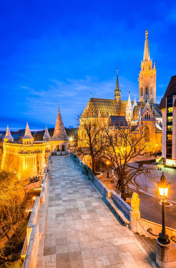 Budapest, Matyas church on Buda Hill, Hungary. Budapest, Hungary. Matyas Church and Fisherman Bastion on Buda Hill at twilight hour royalty free stock image