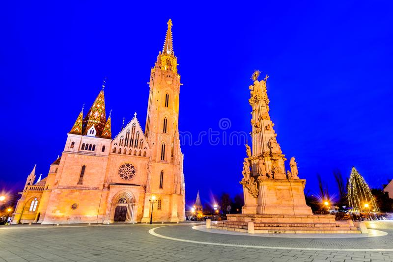 Budapest, Matyas church on Buda Hill, Hungary. Budapest, Hungary. Matyas Church and Fisherman Bastion on Buda Hill at twilight hour royalty free stock photo