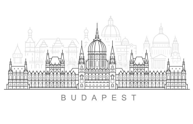 Budapest miasta linia horyzontu hungarian parlamentu budynek, pejzaż miejski i Budapest punkty zwrotni -, ilustracja wektor