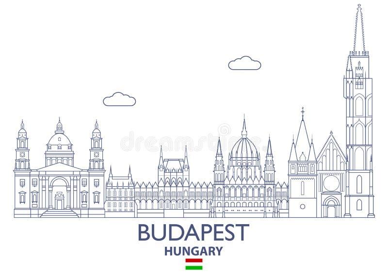 Budapest miasta linia horyzontu, Węgry ilustracja wektor
