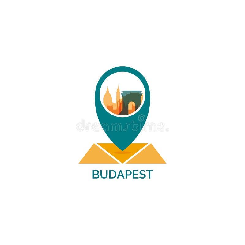 Budapest miasta linii horyzontu loga chłodno ilustracja ilustracji
