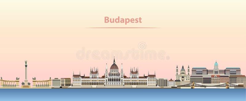 Budapest miasta wektorowa linia horyzontu przy wschodem słońca ilustracji