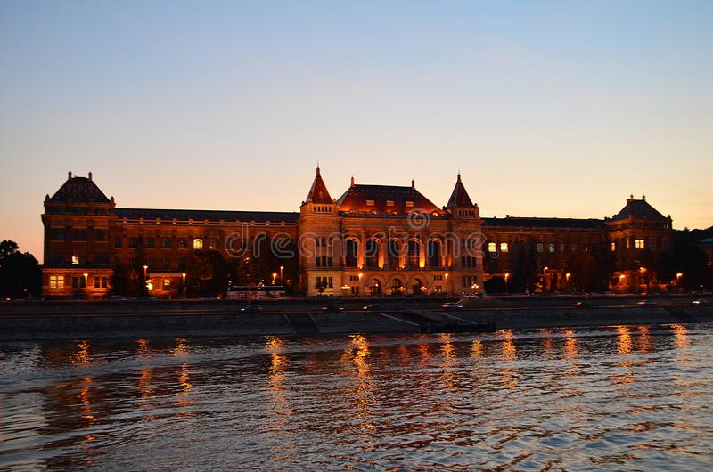 Budapest at Night: The Corvinus University. The Corvinus University of Budapest at Night stock images