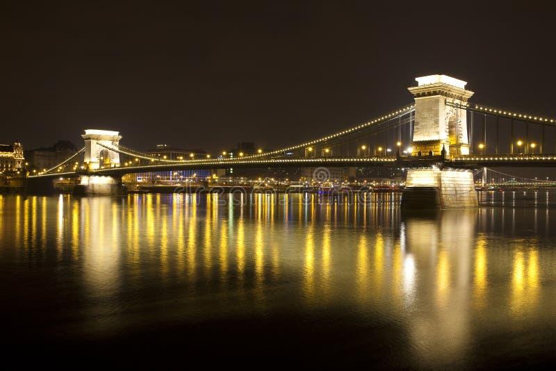 Budapest at night, Danube, Bridge, Hungary royalty free stock photo