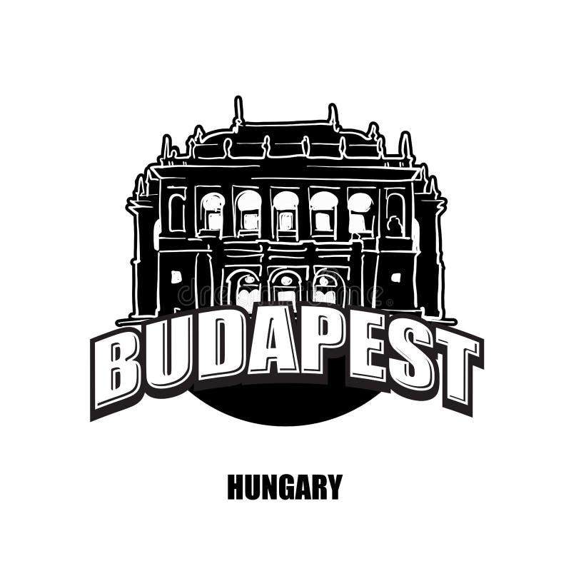 Budapest opera, svartvit logo royaltyfri illustrationer