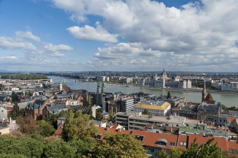 Budapest panorama from Buda Castle. Budapest panorama with Danube from Buda Castle royalty free stock image