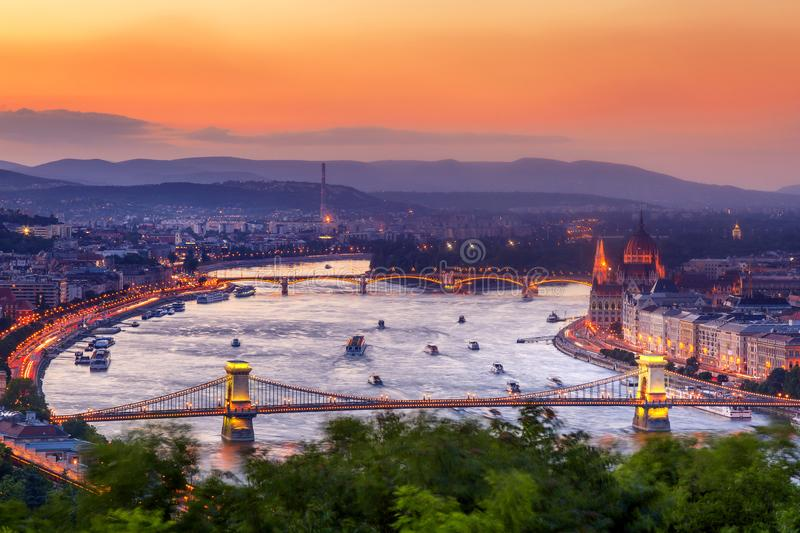 Budapest Panorama with parliament and bridges during evening twilight sunset. View from Citadel.  stock images