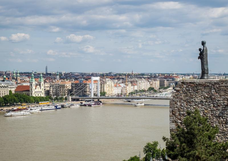 Budapest panorama with statue of Virgin Mary and Elisabeth Bridge at the back, Budapest stock image