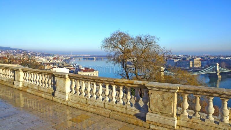 Budapest panoramy widok od Budy wzgórza zdjęcie stock