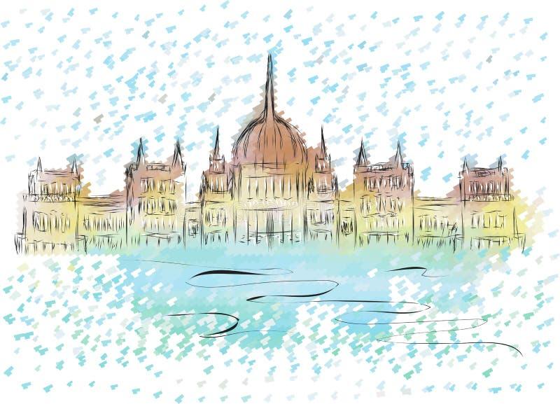 Budapest parlament ilustracja wektor