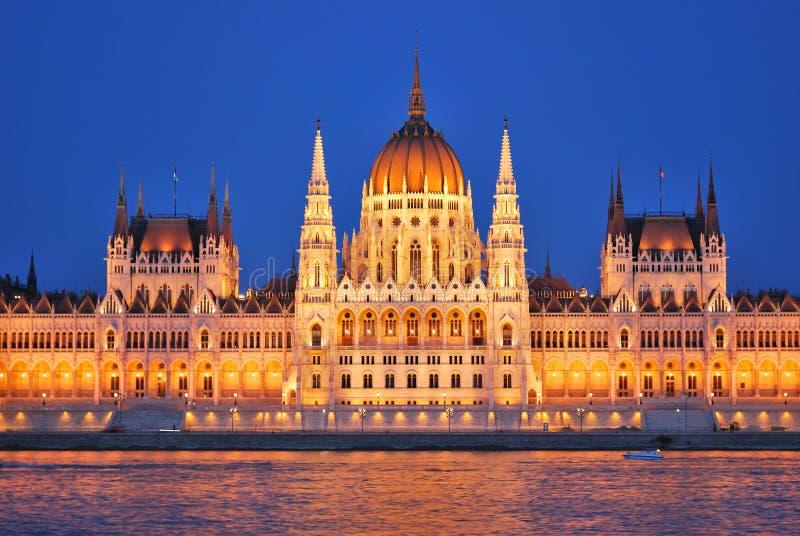 Budapest parlament przy nocą obraz royalty free