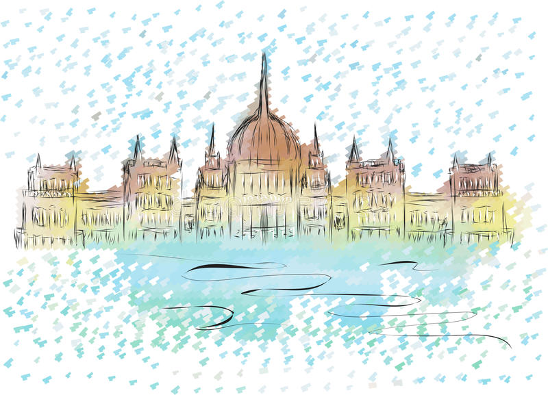 Budapest parliament. Abstract sketch of building on multicolor background vector illustration