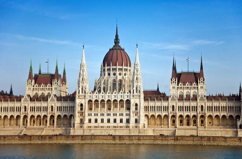 Budapest Parliament Building. Beautiful image of the Budapest Parliament Building taken from the other side of the Danube River stock photos