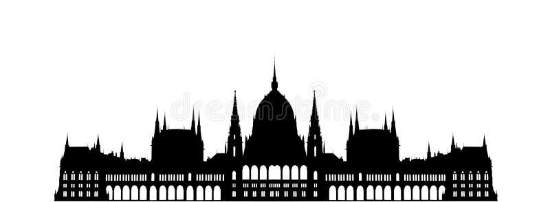 Budapest Parliament Building. Budapest City Hungary Parliament Building Landmark silhouette royalty free illustration