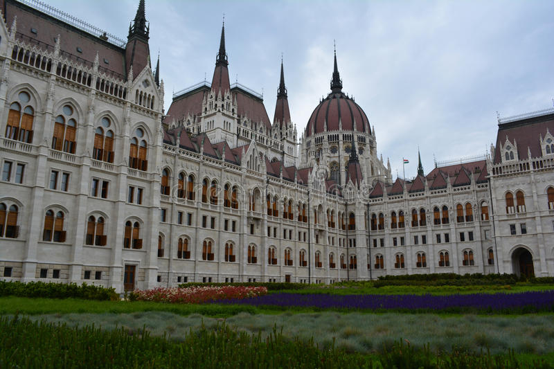 Budapest parliament building. Hungarian Parliament building with garden royalty free stock photography