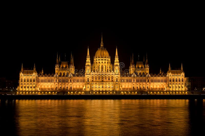 Budapest, Parliament Building at Night, Hungary. Illuminated Parliament building in Budapest at night, Hungary, Europe. This is one of the oldest government stock images