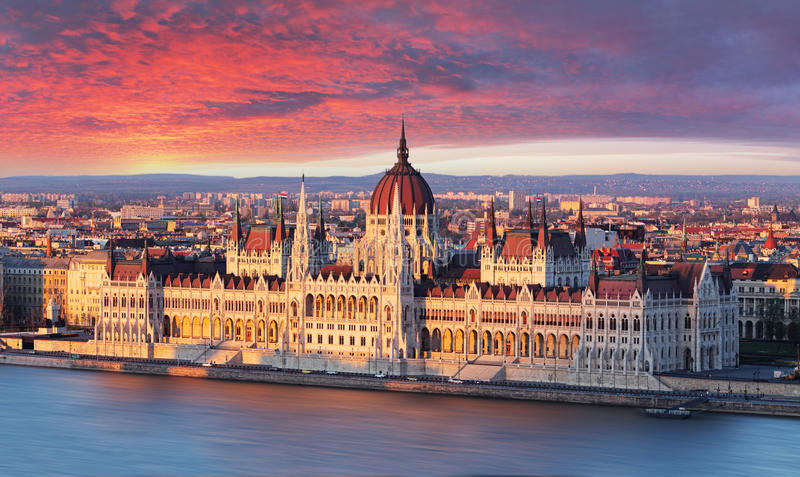 Budapest parliament at dramatic sunrise.  stock image
