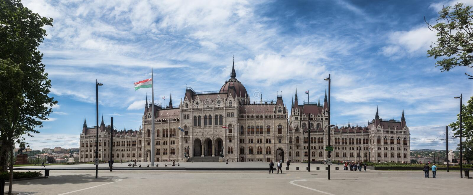 Budapest parliament front panorama royalty free stock photography