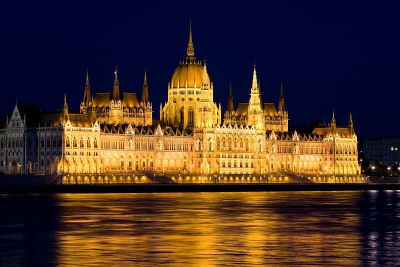 Budapest Parliament at Night stock image