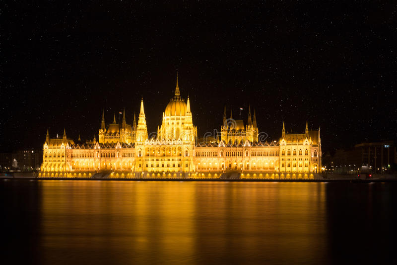 Budapest parliament stars night stock photo