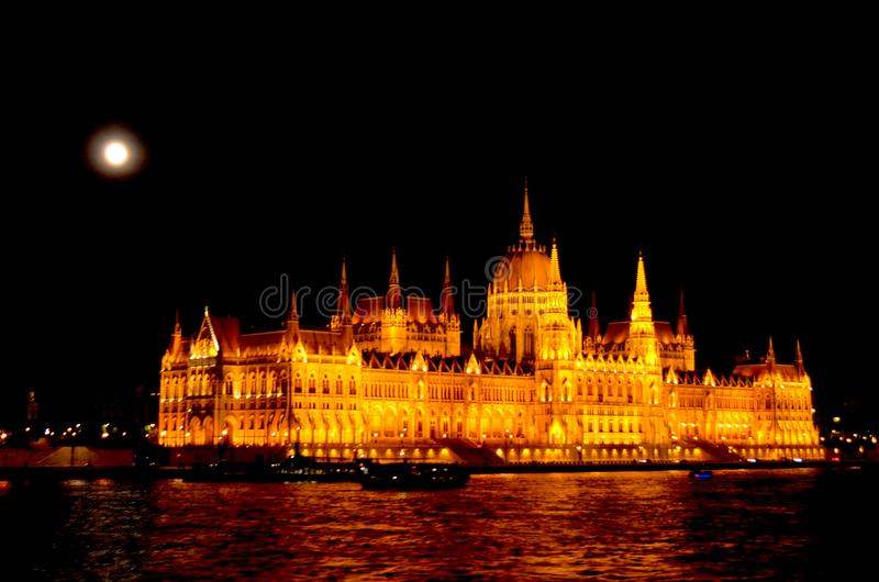Budapest Parliament under a full moon. royalty free stock photos