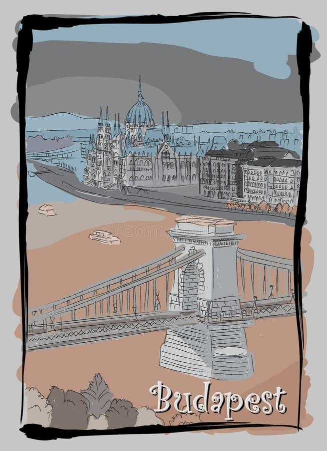 Budapest pejzażu miejskiego ręki rysunkowa pocztówka ilustracja wektor
