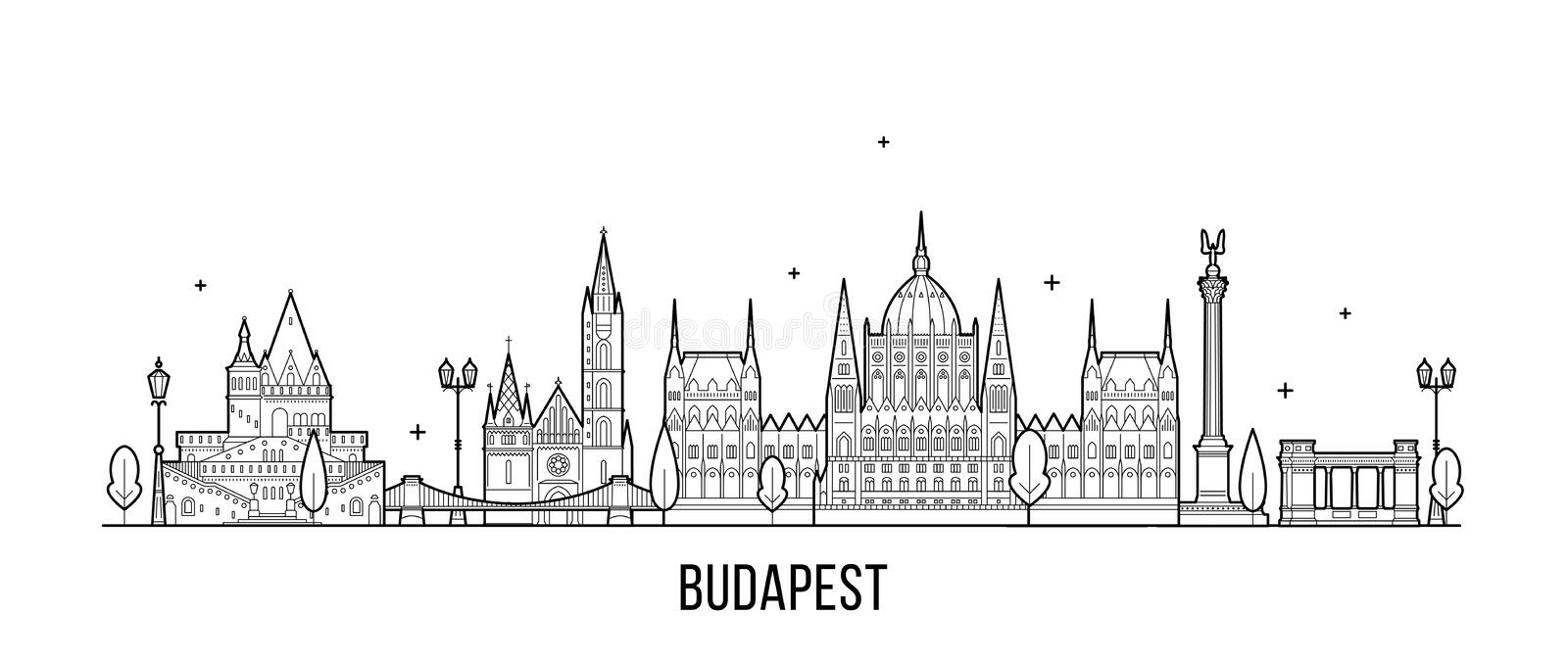 Budapest skyline Hungary city buildings vector. Budapest skyline, Hungary. This illustration represents the city with its most notable buildings. Vector is fully vector illustration