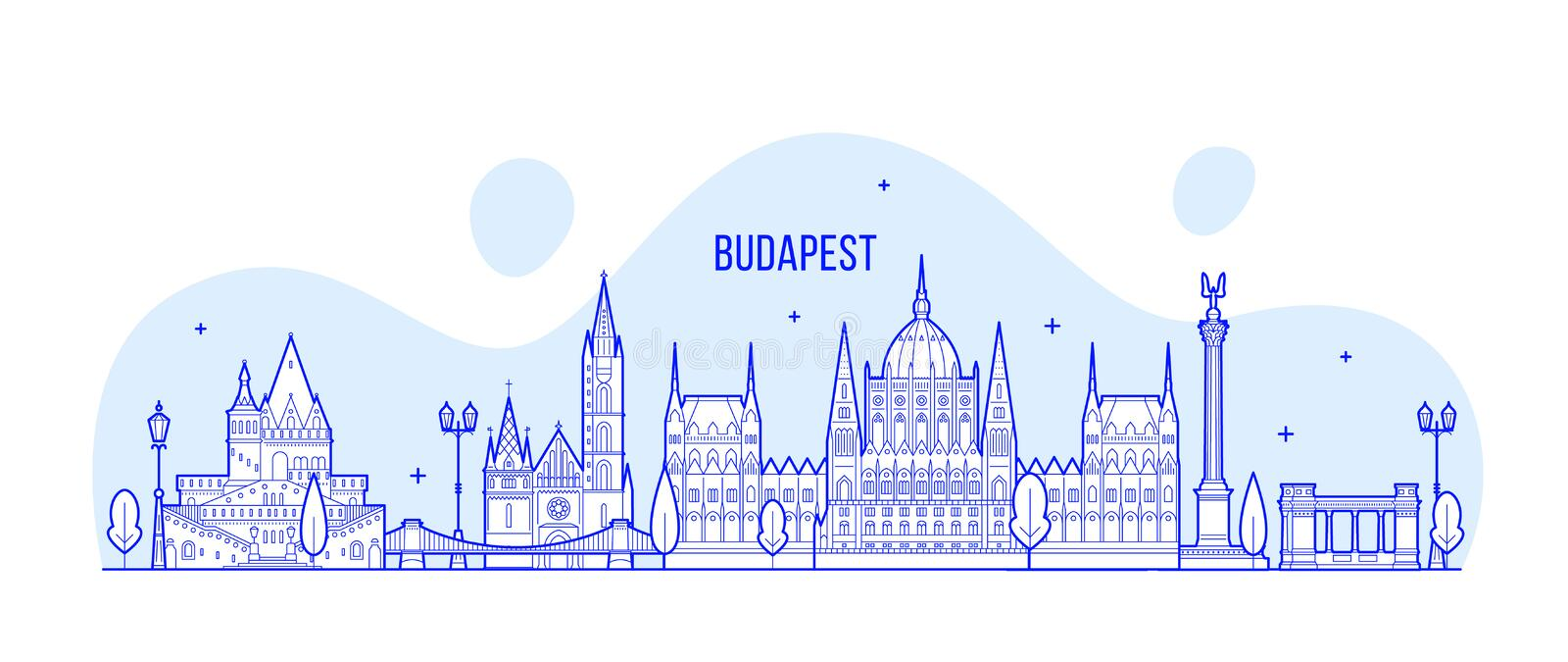 Budapest skyline Hungary vector city buildings. Budapest skyline, Hungary. This vector illustration represents the city with its most notable buildings. Vector royalty free illustration