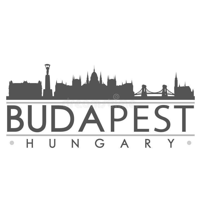 Budapest-Skyline-Schattenbild-Design-Stadt-Vektor-Kunst stock abbildung