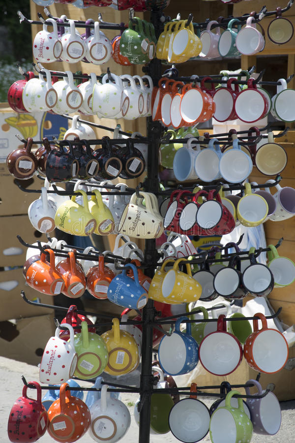 Budapest. Some cups on a market in budapest stock photography