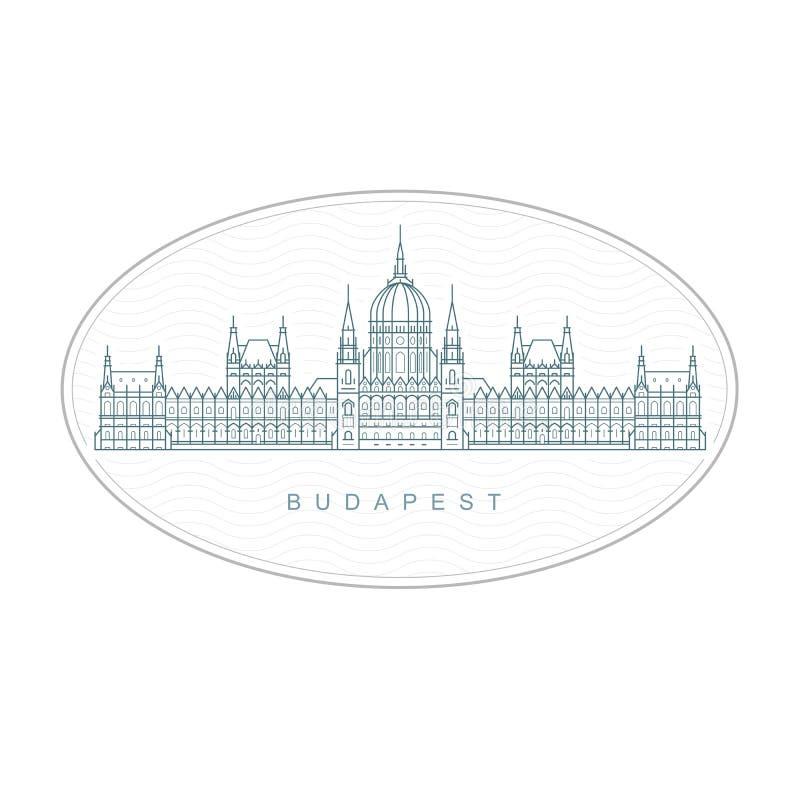 Budapest stämpel - ungersk parlamentbyggnad, Budapest emblem royaltyfri illustrationer