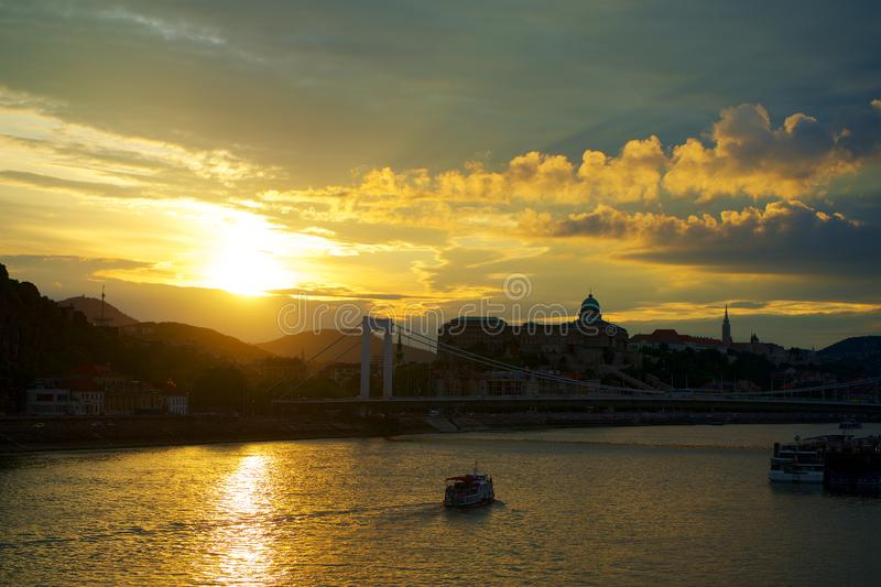 Budapest at sunset golden hour in Hungary. In Europe stock photography