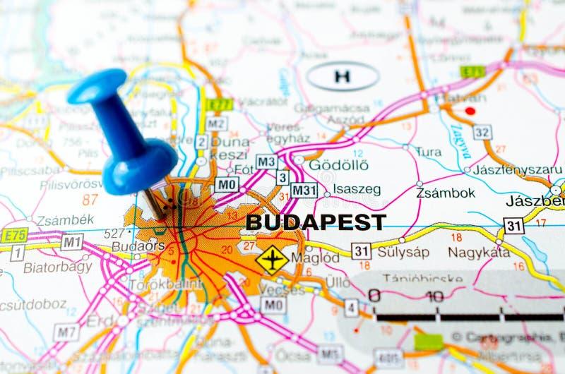 Budapest sur la carte photos libres de droits