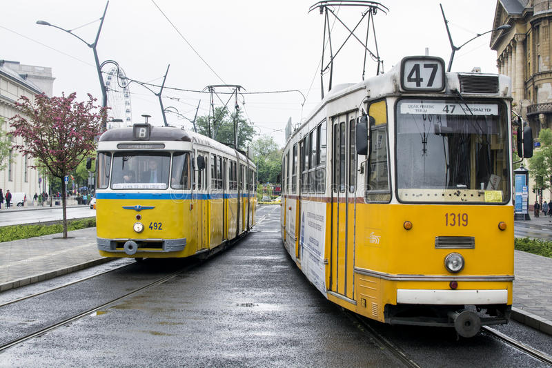 Budapest trams royalty free stock photos