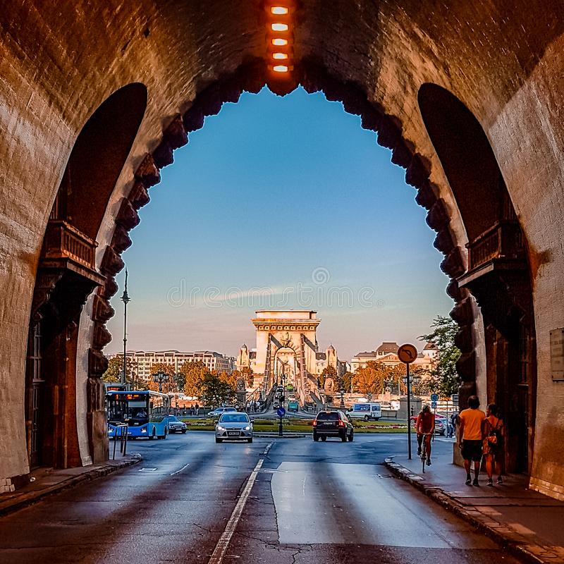 Budapest Tunnel and Road Scene Hungary stock images