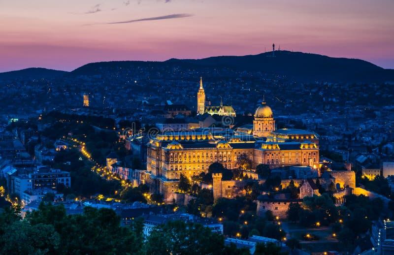Budapest, Buda Castle in night, Hungary royalty free stock photo