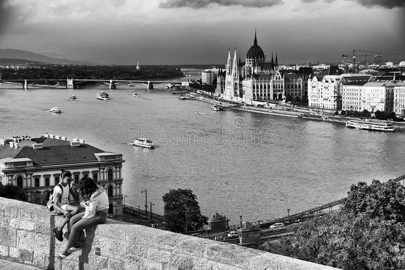 Budapest under storm clouds, seen from Gellert hill. Beautiful historical buildings on the left bank of the Danube river. royalty free stock photo