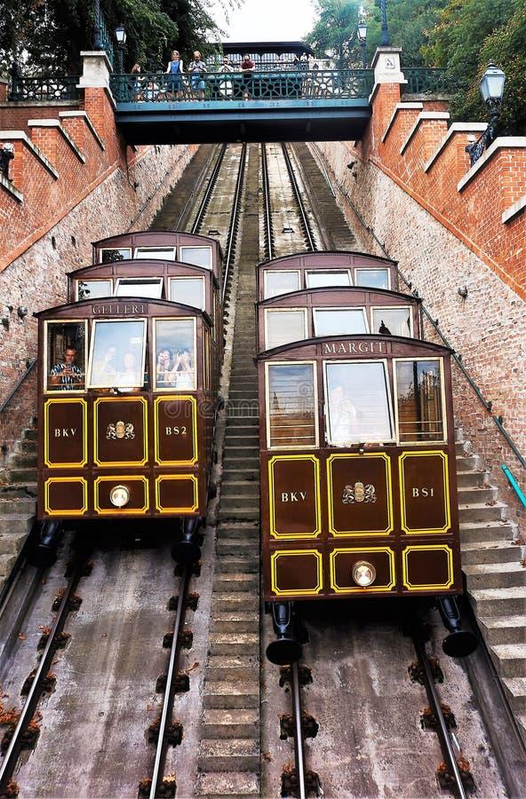 08/11/2018 Budapest, Ungern Buda Castle Hill bergbanaspårvagn royaltyfri foto