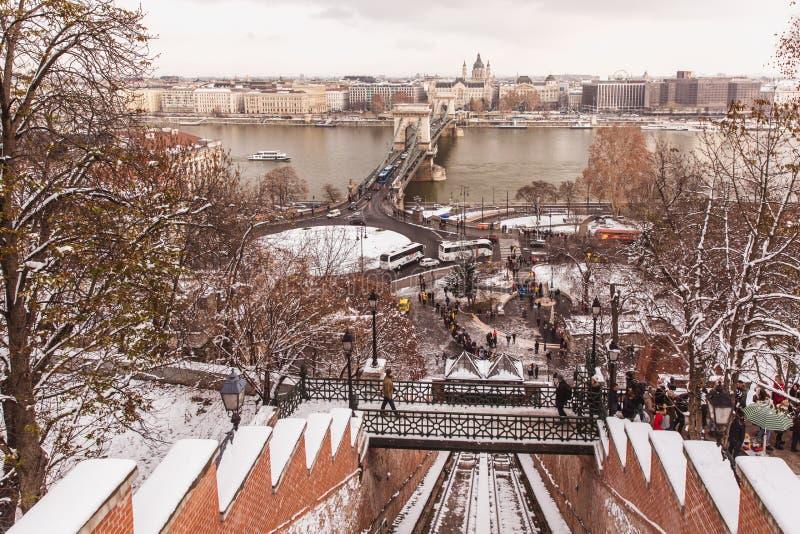 BUDAPEST UNGERN - 16 DECEMBER, 2018: Bergbanan för Budapest slottkulle i vinter i Budapest, Ungern arkivbild