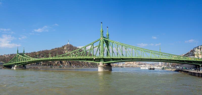 Budapest Ungern Liberty Bridge eller frihetsbron fotografering för bildbyråer