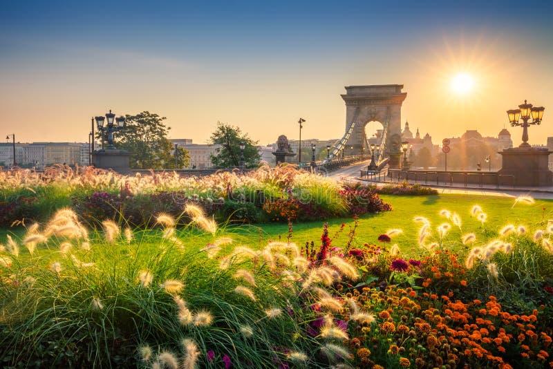 Budapest Ungern - soluppgång på Clark Adam Square med den härliga Chain bron fotografering för bildbyråer