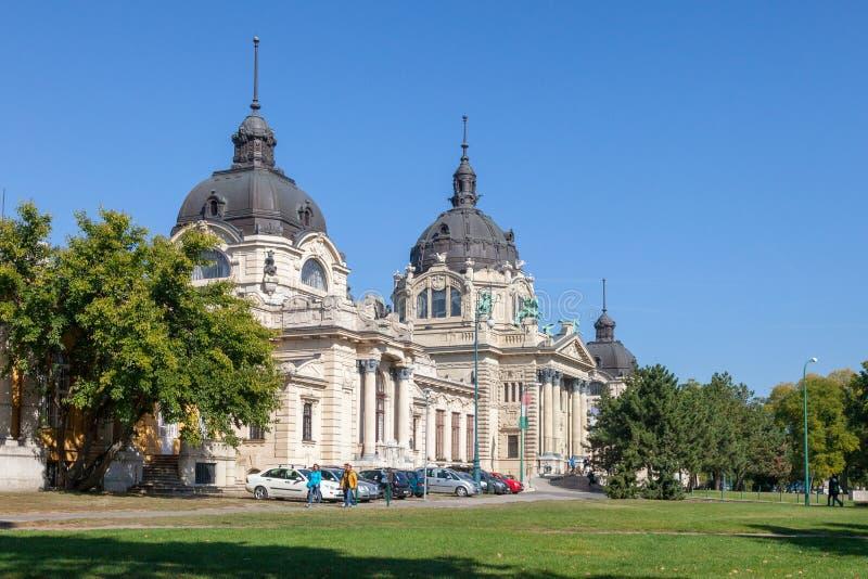 Budapest Ungheria Costruzione delle piscine di Secheni immagine stock