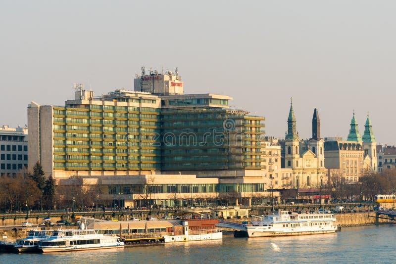 Budapest, Ungheria, il 19 febbraio 2019 - hotel di Marriott fotografia stock